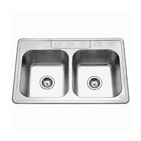 "Houzer 33"" Stainless Steel Topmount Double Bowl Kitchen Sink, 3322-9BS4-1"