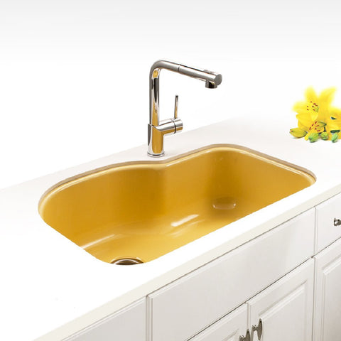 "Houzer 31"" Porcelain Enamel Steel Undermount Single Bowl Kitchen Sink, Yellow, PCH-3700 LE - The Sink Boutique"