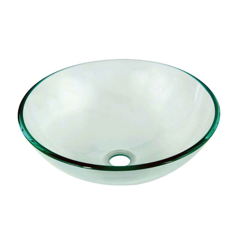 "Dawn 17"" Tempered Glass Vessel Sink, Clear, Round, GVB84007"