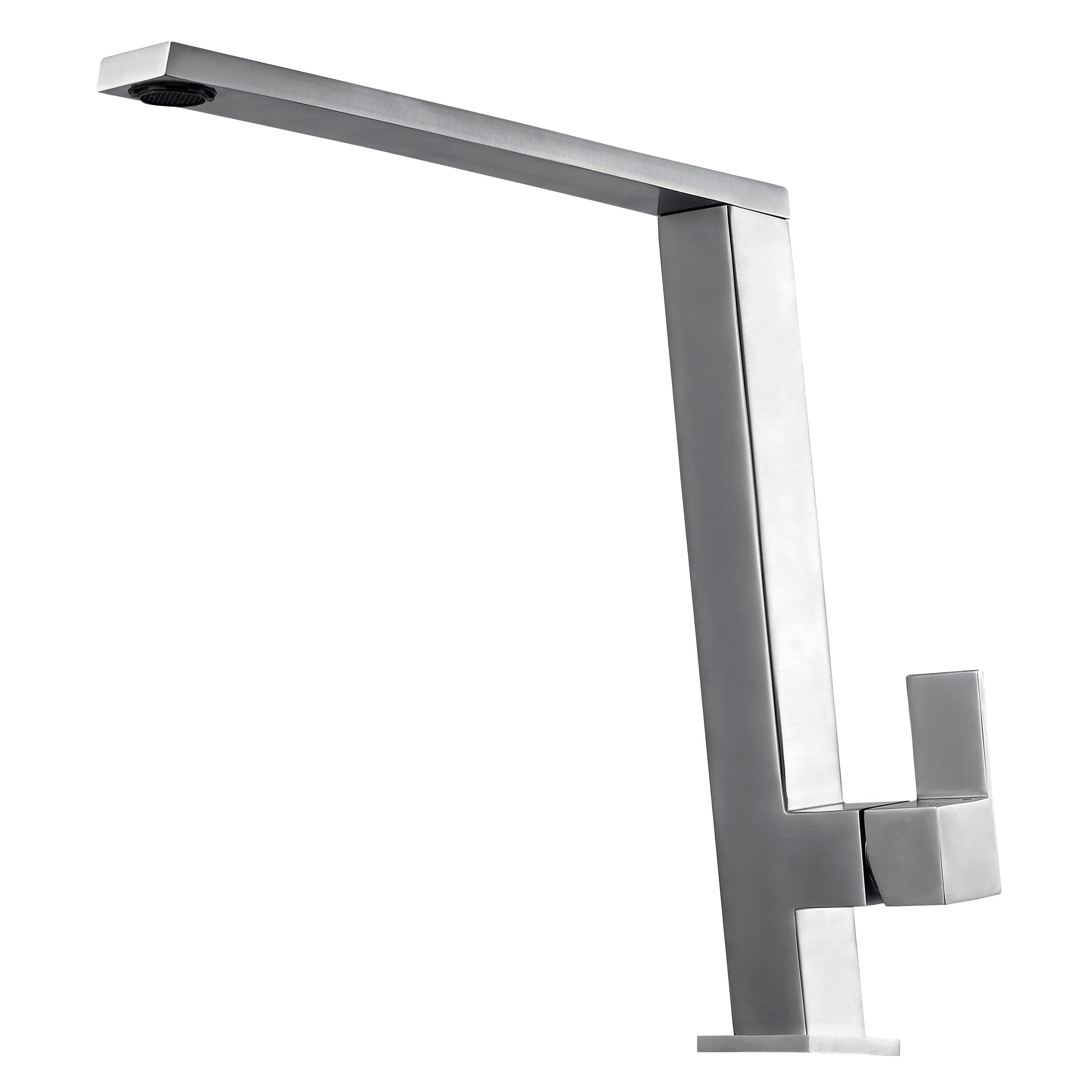 ALFI Square Modern Brushed Stainless Steel Kitchen Faucet, AB2047-BSS