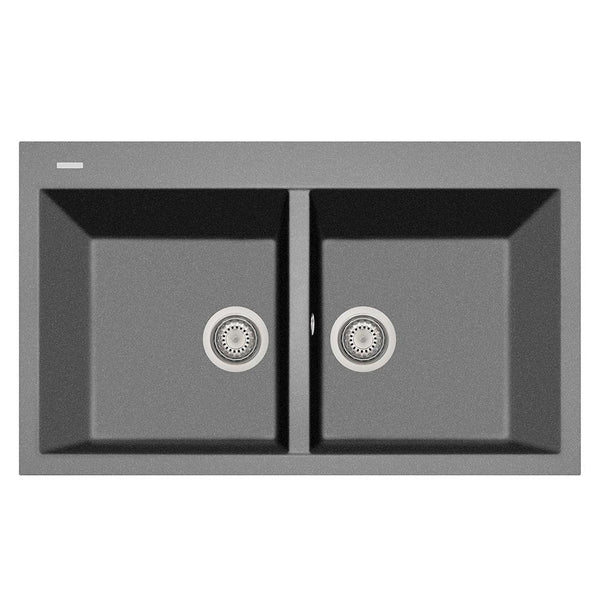 "Latoscana Plados 34"" Drop-in Double Bowl Kitchen Sink, Silver, AM8620-42"