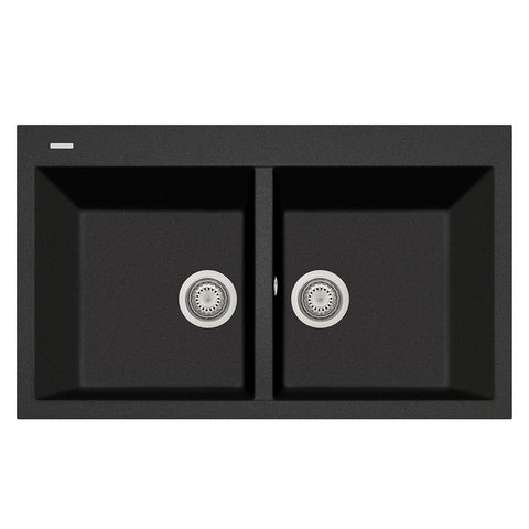 "Latoscana Plados 34"" Drop-in Double Bowl Kitchen Sink, Black, AM8620-44"