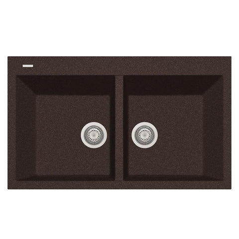 "Latoscana Plados 34"" Drop-in Double Bowl Kitchen Sink, Brown, AM8620-64"