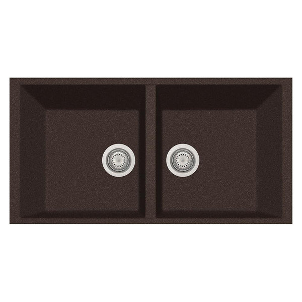 "Latoscana Plados 34"" Undermount Double Bowl Kitchen Sink, Brown, AM8620ST-64"