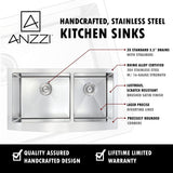 "ANZZI Elysian 36"" Stainless Steel 60/40 Double Bowl Farmhouse Apron Sink in Brushed Satin K-AZ3620-3A - The Sink Boutique"