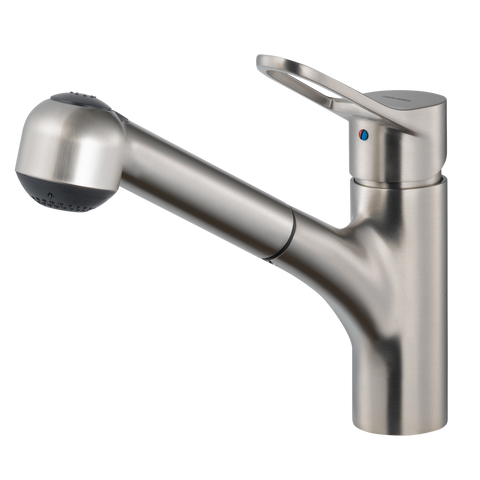 Houzer Ayr Pull Out Kitchen Faucet Brushed Nickel, AYRPO-972-BN