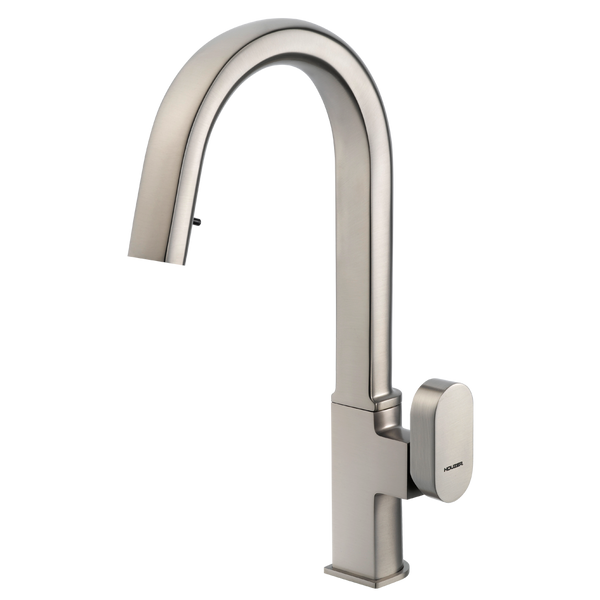 Houzer Azura Hidden Pull Down Kitchen Faucet Brushed Nickel, AZUPD-968-BN