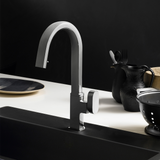 Houzer Azura Hidden Pull Down Kitchen Faucet Brushed Nickel, AZUPD-968-BN - The Sink Boutique