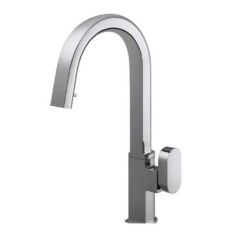 Houzer Azura Hidden Pull Down Kitchen Faucet with CeraDox Technology Polished Chrome, AZUPD-968-PC
