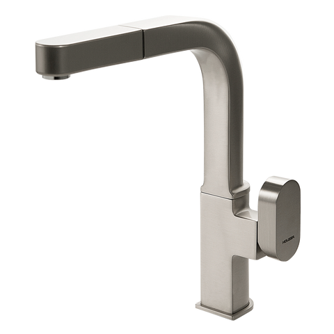 Houzer Azura Pull Out Kitchen Faucet Brushed Nickel, AZUPO-965-BN