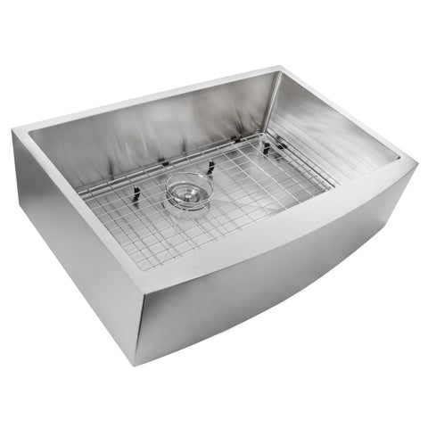 "Nantucket Sinks Pro Series 33"" Stainless Steel Farmhouse Sink, Apron332210-SR-16"