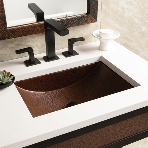 "Native Trails Avila 21"" Rectangle Copper Bathroom Sink, Antique Copper, CPS245"