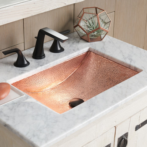 "Native Trails Avila 21"" Rectangle Copper Bathroom Sink, Polished Copper, CPS445"