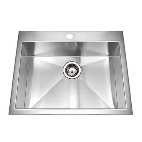"Houzer 25"" Stainless Steel Topmount Zero Radius Single Bowl Kitchen Sink, BCS-2522"