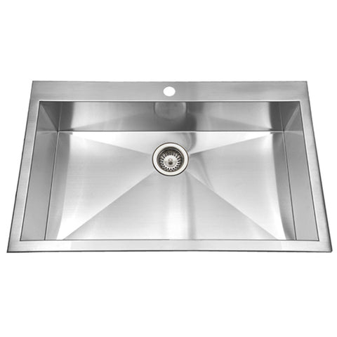 "Houzer 33"" Stainless Steel Topmount Single Bowl Kitchen Sink, BLS-3322"
