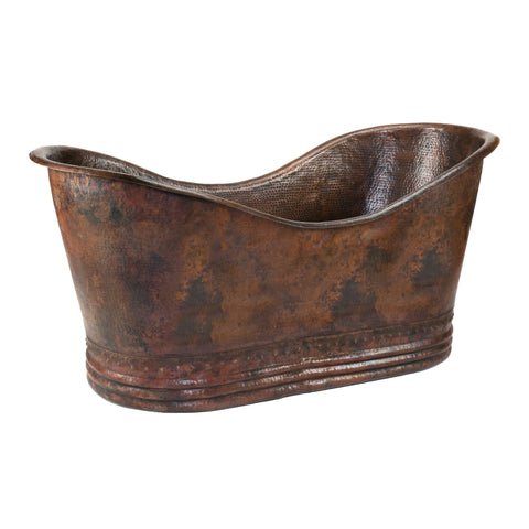 "Premier Copper Products 67"" Hammered Copper Double Slipper Bathtub, BTD67DB"