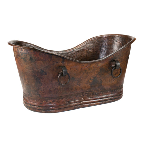 "Premier Copper Products 67"" Hammered Copper Double Slipper Bathtub With Rings, BTDR67DB"