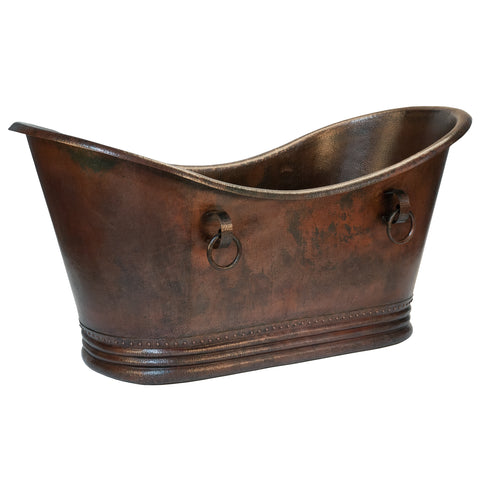 "Premier Copper Products 72"" Hammered Copper Double Slipper Bathtub With Rings, BTDR72DB"