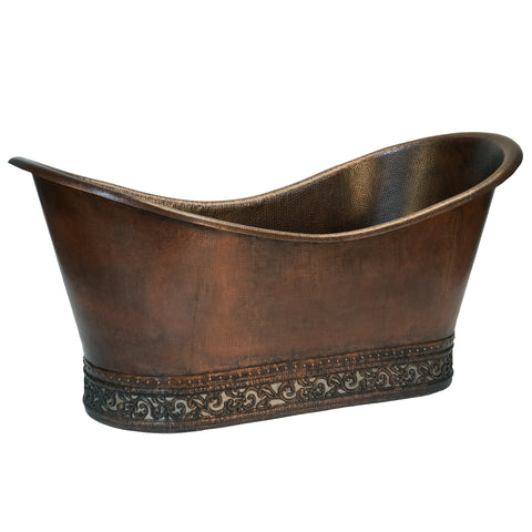 "Premier Copper Products 67"" Hammered Copper Double Slipper Bathtub with Scroll Base and Nickel Inlay, BTN67DB"