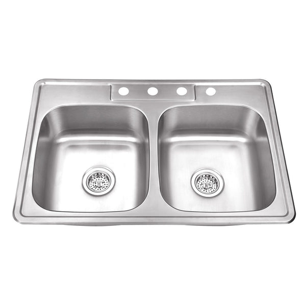 "33"" Stainless Steel Double Bowl Topmount Kitchen Sink"