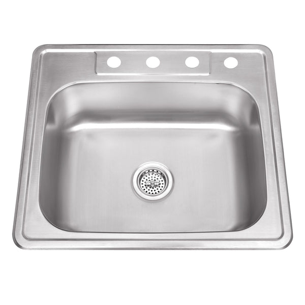 "25"" Stainless Steel Single Bowl Topmount Kitchen Sink"