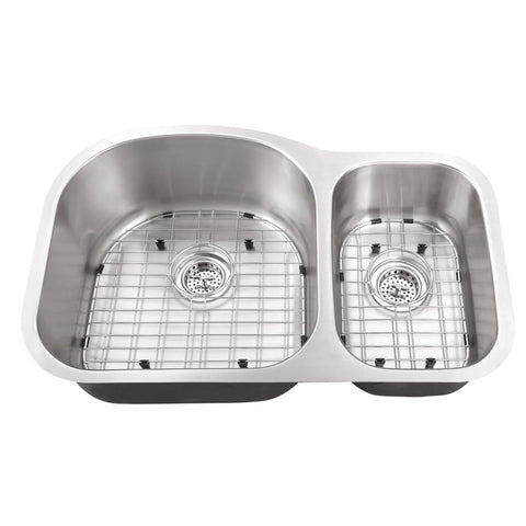 "32"" Stainless Steel Double Bowl Undermount Kitchen Sink"