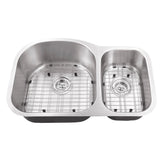 "Cahaba 32"" Stainless Steel Double Bowl Undermount Kitchen Sink Set with Faucet - The Sink Boutique"