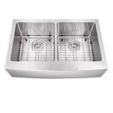 "Cahaba 33"" Stainless Steel Double Bowl Farmhouse Sink Set with Faucet - The Sink Boutique"