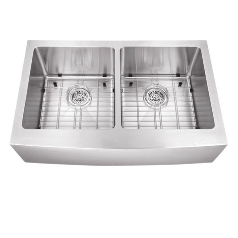 "33"" Stainless Steel Double Bowl Farmhouse Sink"