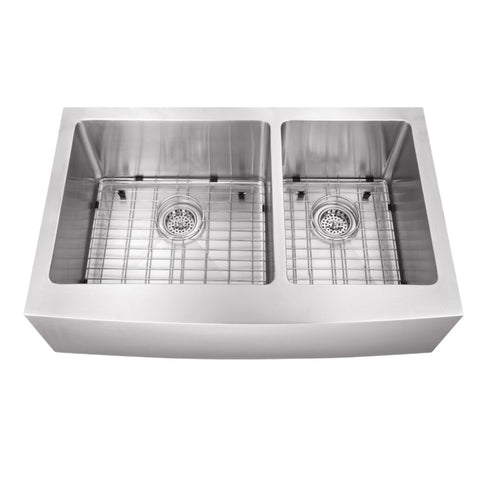 "36"" Stainless Steel Double Bowl Farmhouse Sink"