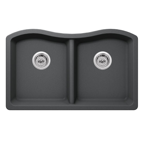 "33"" Quartz Double Bowl Undermount Kitchen Sink, Gray"