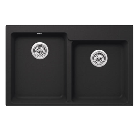 "33"" Quartz Double Bowl Topmount Kitchen Sink, Onyx Black"