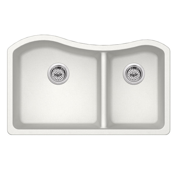 "33"" Quartz Double Bowl Undermount Kitchen Sink, Alpine"