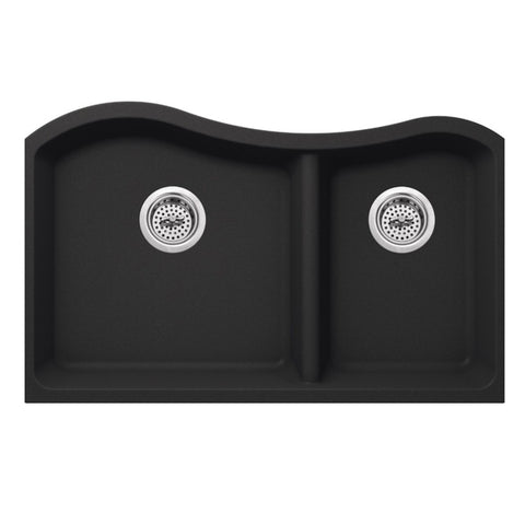 "33"" Quartz Double Bowl Undermount Kitchen Sink, Onyx Black"