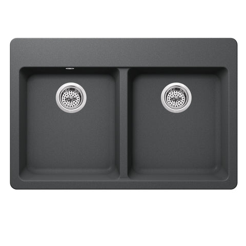 "33"" Quartz Double Bowl Topmount Kitchen Sink, Gray"