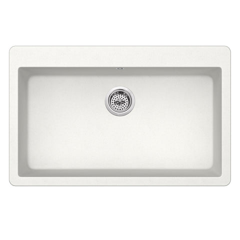 "33"" Quartz Single Bowl Topmount Kitchen Sink, Alpine"