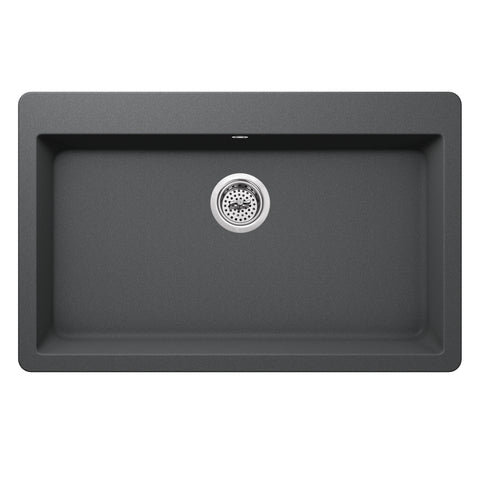 "33"" Quartz Single Bowl Topmount Kitchen Sink, Gray"