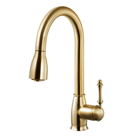 Houzer Camden Pull Down Kitchen Faucet Brushed Brass, CAMPD-368-BB