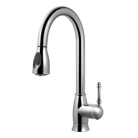 Houzer Camden Pull Down Kitchen Faucet with CeraDox Technology Polished Chrome, CAMPD-368-PC