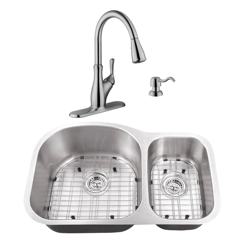 "32"" Stainless Steel Double Bowl Undermount Kitchen Sink Set with Faucet"