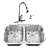 "29"" Stainless Steel Double Bowl Undermount Kitchen Sink Set with Faucet"