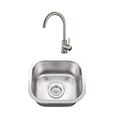 "15"" Stainless Steel Single Bowl Bar Sink Set with Faucet"