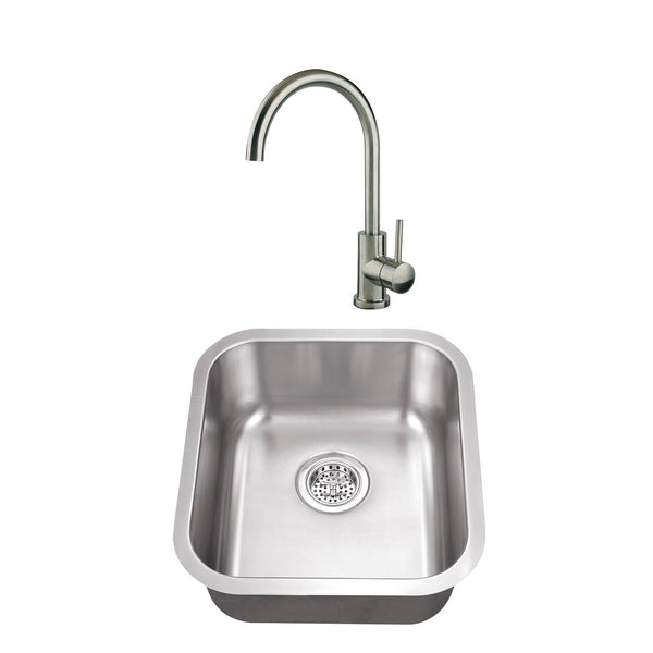 "18"" Stainless Steel Single Bowl Bar Sink Set with Faucet"