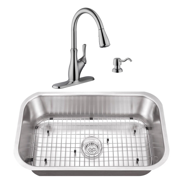 "30"" Stainless Steel Single Bowl Undermount Kitchen Sink Set with Faucet"
