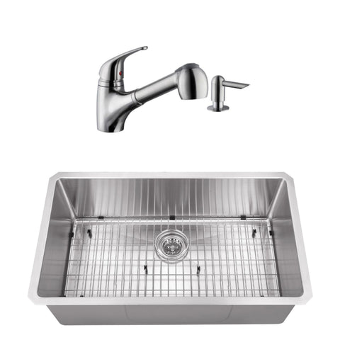 "32"" Stainless Steel Single Bowl Undermount Kitchen Sink Set with Faucet"
