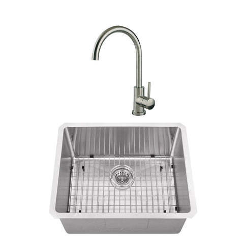 "23"" Stainless Steel Single Bowl Bar Sink Set with Faucet"