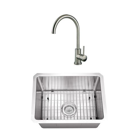 "20"" Stainless Steel Single Bowl Bar Sink Set with Faucet"