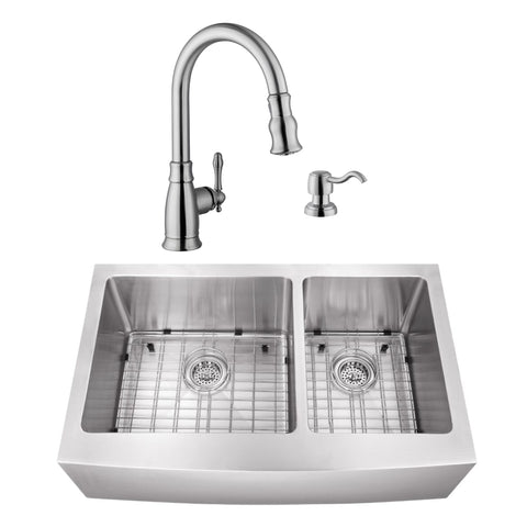 "33"" Stainless Steel Double Bowl Farmhouse Sink Set with Faucet"