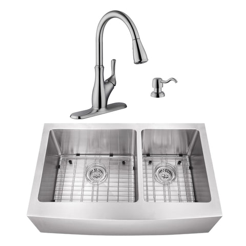 "36"" Stainless Steel Double Bowl Farmhouse Sink Set with Faucet"