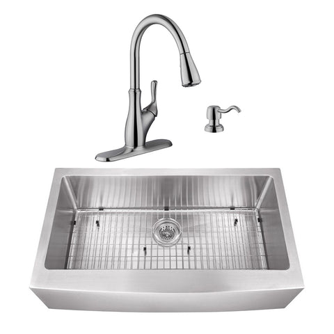 "33"" Stainless Steel Single Bowl Farmhouse Sink Set with Faucet"
